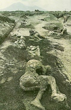 Plaster casts preserve the forms of Pompeiian victims where they fell  National Geographic | November 1961