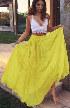 Spaghetti Straps A-Line Two Piece Prom Dress,Evening Dresses