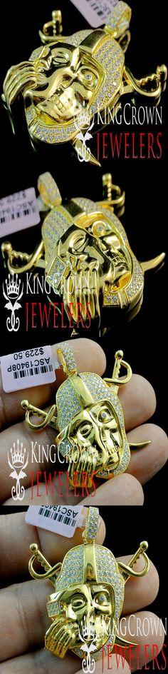 Diamond 164331: 10K Yellow Gold Sterling Silver Simu Diamond Mens Oakland Raiders Pendant Charm -> BUY IT NOW ONLY: $89.99 on eBay!