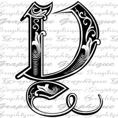 LETTER Initial Y Monogram Old ENGRAVING Style Type by Graphique
