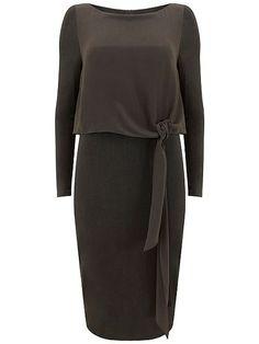 Khaki Woven Tie Layer Dress