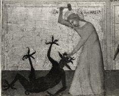 """Anonimo , """"Barna"""" - sec. XIV - Santa Margherita sconfigge il demonio - particolare"""
