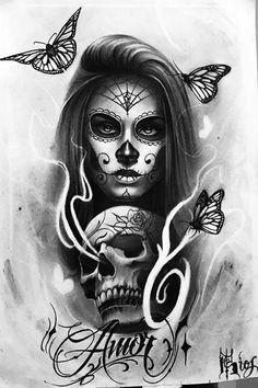 Mexikanische Catrina - Girls with sleeve tattoos - Sugar Skull Mädchen, Sugar Skull Girl Tattoo, Girl Face Tattoo, Girl Skull, La Muerte Tattoo, Catrina Tattoo, Kunst Tattoos, Bild Tattoos, Lowrider Art