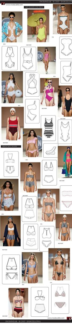 SS 2017 swimwear trends seen at Barcelona fashion week Swimwear Fashion, Bikini Fashion, Beach Fashion, Ropa Interior Boxers, Fashion Flats, Fashion Outfits, Lady Like, Flat Sketches, Jolie Lingerie