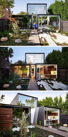 A modern wood walkway leads straight through the home and into the backyard.