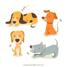Mignon illustrations de chiens Vecteur gratuit