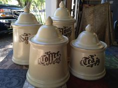 Pfaltzgraff VILLAGE 4-CANISTER SET by by HalfPennyBoutique on Etsy