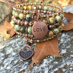 Nature's Love Multi Strand Memory Wire Wrap Bracelet With Heart And Love Charm