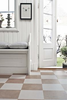 The checkerboard floor Checkerboard Floor, Welcome To My House, House Entrance, Painted Floors, House 2, Interior Inspiration, Kitchen Remodel, Tile Floor, House Ideas