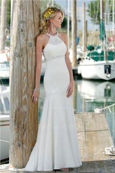 Trumpet/Mermaid Halter Floor-length Chiffon Wedding Dress