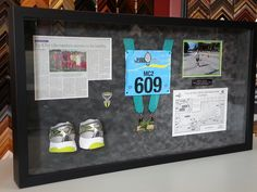 Check this out! We cut these shoes in half to put them in the shadow box along with the rest of this runner's keepsakes!
