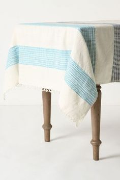 Anthropologie - Dashed Azure Tablecloth from Anthropologie. Saved to decor. Shop more products from Anthropologie on Wanelo. Cocinas Kitchen, Anthropologie Home, Striped Table, Dinning Room Tables, Textiles, Table Linens, Decoration, My Dream Home, Home Kitchens