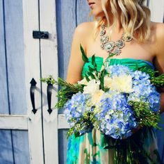 Our floral bouquets. Hydrangeas in bloom! Lush greens and blues. Lush Green, Floral Bouquets, Hydrangeas, Strapless Dress, Blues, Events, Gallery, Creative, Pretty