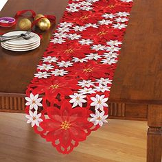 Embroidered Poinsettia Table Linens, Runner Collections Etc