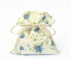 the Blue Roses - 100 Favor Bags - Tie String Decor Pouch - Blue Flowers - Floral Gift Bags - Floral Cotton Bags - Handmade Gift for Guests