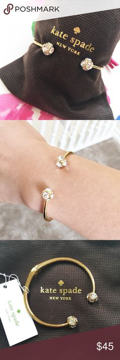 Kate Spade bracelet Gold and crystal bracelet from Kate Spade. Hinge opening. Dustbag included. No trades. No PayPal. Bundle discounts available. Kate Spade Jewelry Bracelets