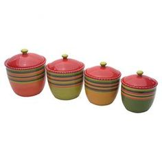 "Four ceramic canisters hand-painted with a Southwestern stripe motif. Includes lids with a silicone gasket for a tight seal.   Product: 4 Piece canister setConstruction Material: CeramicColor: MultiFeatures:  Designed by Nancy GreenHand-painted Dimensions: 10.5"" H x 16.75"" Diameter (large)Cleaning and Care: Dishwasher and microwave safe"