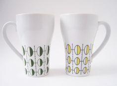 Vintage Modern Style Craft Tall Coffee Mugs