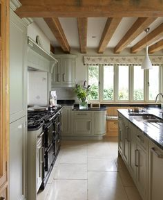 Worcestershire Manor - Border Oak - oak framed houses, oak framed garages and… Aga Kitchen, Open Plan Kitchen, Kitchen Living, Country Kitchen, Kitchen Floor, Rustic Kitchen, Kitchen Ideas, Kitchen Cabinets, Border Oak