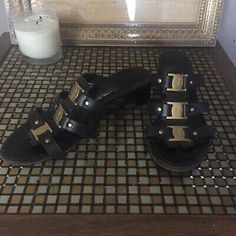 Salvatore Ferragamo Block Heel Gold Logo Embellished Open Toed Sandles | eBay Black Leather Ankle Boots, Leather Riding Boots, Pink Heels, Pumps Heels, Sheepskin Boots, Gold Logo, Cream And Gold, Selling On Ebay, Salvatore Ferragamo