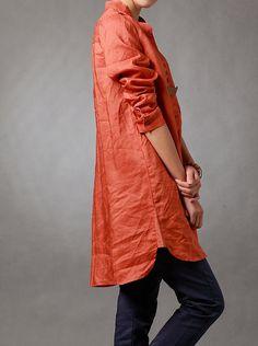 Spring orange shirt linen asymmetric long sleeved shirt by MaLieb, $89.00