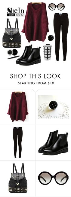 """""""Shein Contest • Red Loose Sweater"""" by by-jwp ❤ liked on Polyvore featuring WithChic, Prada, Mary Kay, contest, sweaterweather, contestentry and shein"""