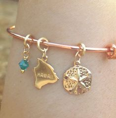 Hawaiian Jewelry, Hawaiian Bangle Bracelet, Beach Bangle Bracelet, Mother's Day Gift, Rose