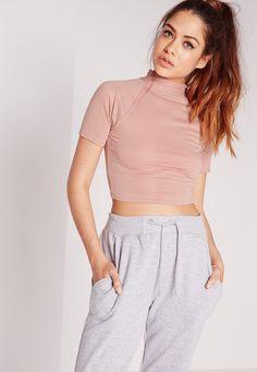 Missguided - High Neck Sheer Stripe Crop Pink