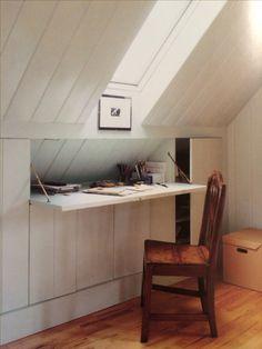 Hidden desk and attic storage.