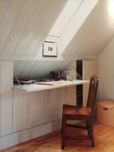 Hidden desk and attic storage.