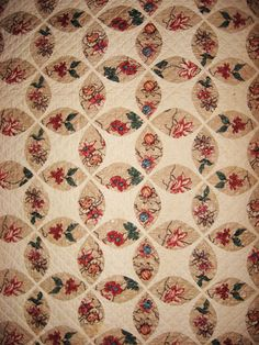 pieced quilt with fussy cut flowers ~ Winterthur collection, by Fanny Johnson McPherson, Maryland c.1835-1850