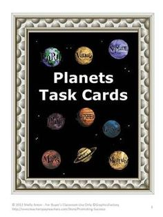 TASK CARDS: Here is a set of 50 task cards for your students to discover information about our planets.     The first 30 task cards each feature a fact about a planet. The students must determine which planet the fact describes. Four planets are pictured on each card, and the correct answer is one of the four planets pictured.
