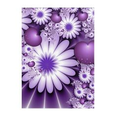 Falling in Love Abstract Flowers & Hearts Fractal Acrylic Wall Art - modern gifts cyo gift ideas personalize