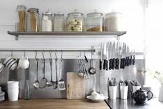 Small Kitchen Workhorses: 8 Barely There (But Crazy Useful) Storage Solutions Ikea Grundtal Kitchen, Mug Storage, Storage Hacks, Kitchen Storage, Kitchen Decor, Kitchen Design, Kitchen Ideas, Kitchen Stuff, Rustic Kitchen