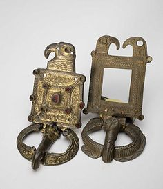 Pair of buckles and plates of the 'eagle' type   Second half of the 5th century   Kerch, Autonomous Republic of the Crimea  Silver, bronze, gilt; almandine, niello Ermitage