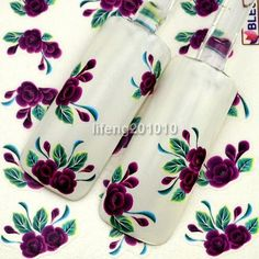 water transfer nail sticker decals nail art decoration tool purple flower design