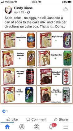 Betty Crocker Cake Mix and a Can of Soda is really all that you need for this recipe, and the best part is that you can try different flavor combinations for different. Cow Cakes, Cupcake Cakes, Cupcake Ideas, Bundt Cakes, Cake Mix Cookies, Cookies Et Biscuits, Oreo Cookies, Cake Pops, Cake Mix And Soda