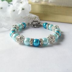 Two-Toned Turquoise Glass Pearl Bracelet with Rhinestone Ball Beads