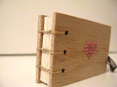 Cross Stitch Heart.Coptic Stitch Balsa Mini Notebook