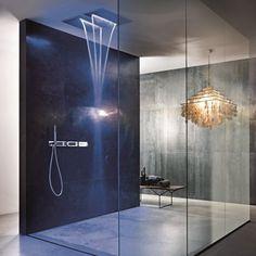 idée-douche-italienne-effet-pluie-carrelage-effet-béton-lustre-design