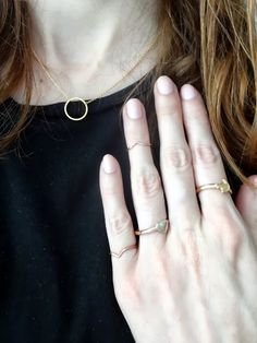 dainty gold jewellery, gold karma necklace, gold midi rings http://www.josies-journal.com/