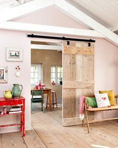 Rosa's Inspiration : DIY idea for your interior: Sliding doors Diy Sliding Door, Diy Door, Home And Deco, Cabana, Home And Living, Living Room, Interior Inspiration, Home Furniture, Family Room