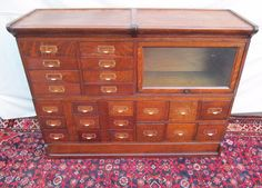 Extremely RARE Oak Physician's File Cabinet 23 Drawers with Bookcase Unit | eBay