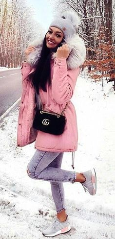 #winter #outfits pink and gray fur hoodie parka jacket