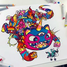 i made this huge DOODLE CREATURE 💥 I'm actually very proud if this one, the detail in the doodles are definitely an improvement to my… Cute Doodle Art, Doodle Art Designs, Cool Doodles, Doodle Art Drawing, Art Drawings, Graffiti Art, Graffiti Doodles, Marker Kunst, Copic Marker Art