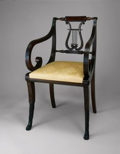 1815 American (New York) Armchair at the Art Institute of Chicago, Chicago - It's neat to see how the lyre design was incorporated into the back of the chair.