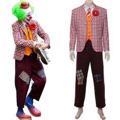Mens The Joker Waistcoat /& Jacket Set Crazy Clown Villain Fancy Dress