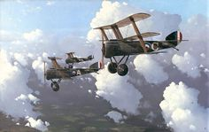 Painting: Andrew Dillon Sopwith Triplanes of the famous 10 Naval Squadron on patrol. One of its pilots was Canadian pilot Raymond Collishaw, the RNAS's highest-scoring ace and later an Air Vice-Marshal.
