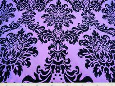 Vintage Black flock on Purple Shot Blue DAMASK by TheFabricShopUK