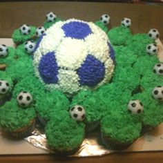 Soccer ball cake with grassy cupcakes.